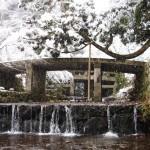 石橋と雪のコントラストはとても美しいです。